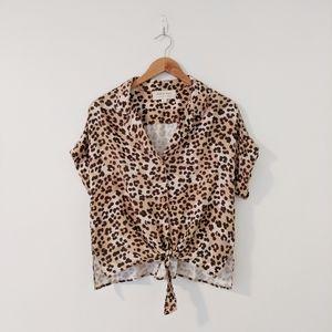 Anthropologie Leopard Print Button Down Top
